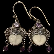 Stunning  Sterling Silver SAJEN Ladies Smiling Goddess Face Earrings Carved Tagus Nut Signed
