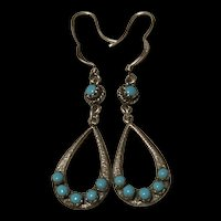 Gorgeous Native America Sterling Silver Sleeping Beauty Turquoise Drop Earrings