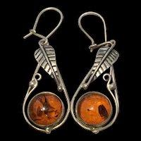Vintage Sterling Silver Natural Baltic Honey Amber Earrings
