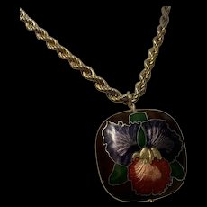 Gorgeous Vintage Large Flower Themed Cloisonné Enamel Double Sided Pendant Gold Tone Necklace