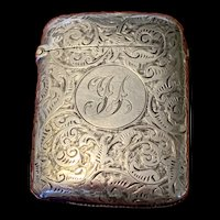 Antique English Birmingham Sterling Silver Match Holder Case By Staokes & Ireland 1892