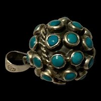 Vintage Sterling Silver Turquoise Snake Eye Ball Pendant Singed