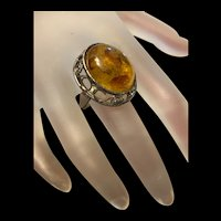 Fabulous Large Vintage Sterling Silver Baltic Amber Ring