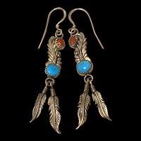 Vintage Sterling Silver Navajo Native American Sleepy Beauty & Coral Feather Leaves Earrings
