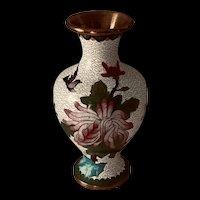 Vintage Chinese Cloisonné Enamel White Floral Vase