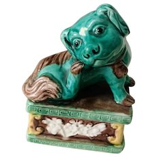 19th Chinese Export Famille Rose Porcelain Dog