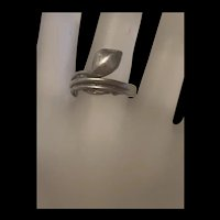 Vintage Sterling Silver Snake Ring With Artisan  Signed