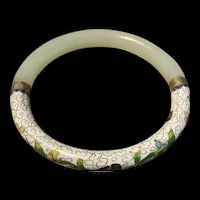 Stunning Vintage Chinese Jade /Cloisonné Water Lily Enamel Bangle