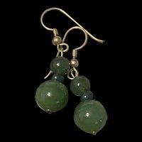 Vintage Gilled Dark Green Jade Dangle Earrings