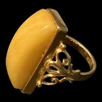 Russian Vintage Gilled Eggyolk  Genuine Baltic Amber Ring