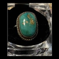 Gorgeous Vintage Native America Navajo Sterling Silver Turquoise Ring