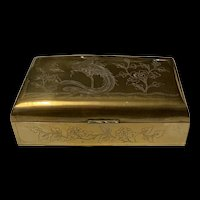 Stunning Antique Engraved Chinese Brass Box