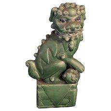 Antique Chinese Green Glazed Foo Dog Statue Figurine