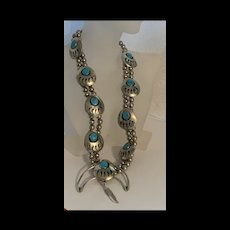 Impressive Vintage Native American Navajo Bear Paw Sterling Silver Turquoise Squash Blossom Necklace
