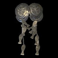Super Fabulous Vintage Woods 925 Sterling Silver Large Cat Fishing Dangle And Drop Earrings