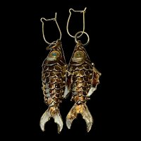 Stunning Chinese Export Enamel Cloisonné Fish Earrings