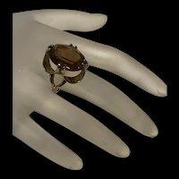 Gorgeous Large Antique 18KT H.G.E Smokey Quartz Ring