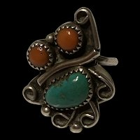 Stunning Native America Sterling Turquoise And Coral Ring