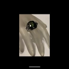 Gorgeous Vintage Marcasite Peridot Emerald  Cut Sterling Silver Ring Artisan Signed