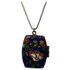 Antique Chinese Export Enamel Cloisonné Floral Locket Pendent