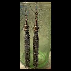 Stunning Vintage Sterling Silver Tassels Earrings