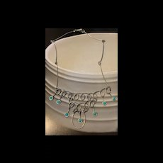1940's Vintage Mexico Sterling Silver Turquoise Bib Necklace Artisan Signed