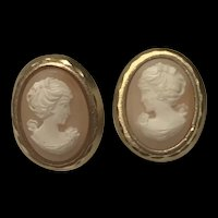 Vintage Good Filled Shell Cameo Screw Back Earrings By Designer