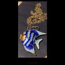 Gorgeous Vintage Sterling  Enamel Angelfish Pendant  On 12K Gold Filled Necklace