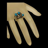 Gorgeous Vintage Native America Navajo Sleeping Beauty Turquoise Sterling Silver Filigree Floral Ring.