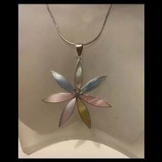 Gorgeous Large Sterling Silver Mother Of Pearl Pendant