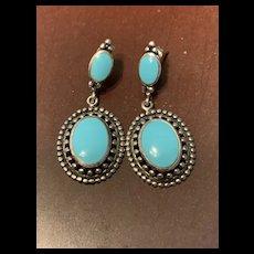 Fabulous Sterling Silver Sleeping Beauty Turquoise Dangle Earrings -Signed CFJ