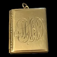 Victorian Gold Filled Silver Book Locket Pendent