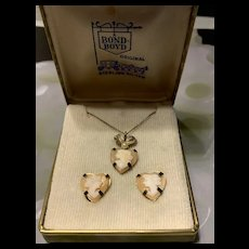 Elegant 1940's Gold Filled Sterling Silver Screw -Back Shell Cameo Earrings And Necklace w/ Original Box -Designer BOND BOYD