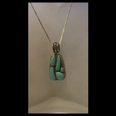 Gorgeous Sterling Silver Natural Turquoise Pendant Necklace