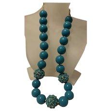 Superb Vintage KJL 22K Gold Plated Turquoise Necklace