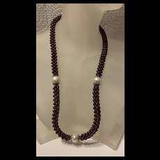 Chunky Bohemian Pryope Carnet Cluster With Pearl Single Strand  Necklace