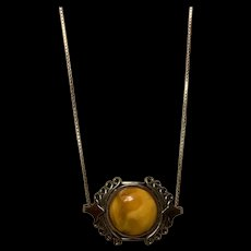 Victorian Ornate Sterling Silver Filigree Butterscotch Amber Pendant Necklace