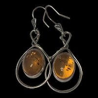 Gorgeous Vintage Baltic Amber Large Dangle Earrings