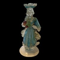 1930's Murano Venetian Blue Lady Figure