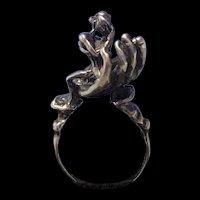 Incredible Victorian Sterling Hand jewelry Ring Signed By Artisan