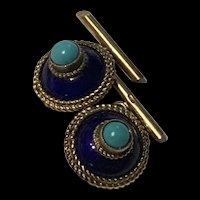 Gorgeous Victorian Gold Filled Enameled Turquoise Cufflinks