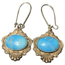 Gorgeous Antique Sterling Silver Turquoise Dangle Earrings Signed By Artisan