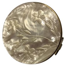 Gorgeous Vintage Mother Of Pearl Mirror With Lipstick Holder
