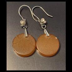 Antique Russian Edwardian Sterling Silver Amber Drop Earrings