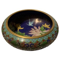 Vintage Chinese Cloisonné Champleve With Floral Brush Washer