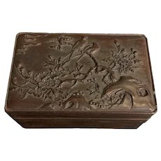 1920's -1940's Antique Chinese Carved Wood Box With Birds And Floral Patterns