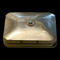 1930's  Sterling Silver Pill Box With Green Turquoise