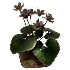 Fabulous Artisan Handcrafted Bovano Cheshire Enamel Copper Flower Scalptures