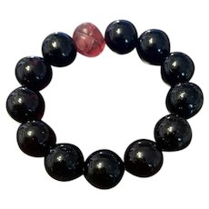 Antique Genuine Baltic Cherry Blood Amber Round Beads With Carved Pecking Glass Bead Stretch