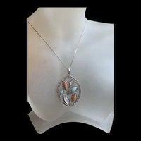 Gorgeous Vintage Sterling Silver Multi - Color Gemstone Pendant Necklace